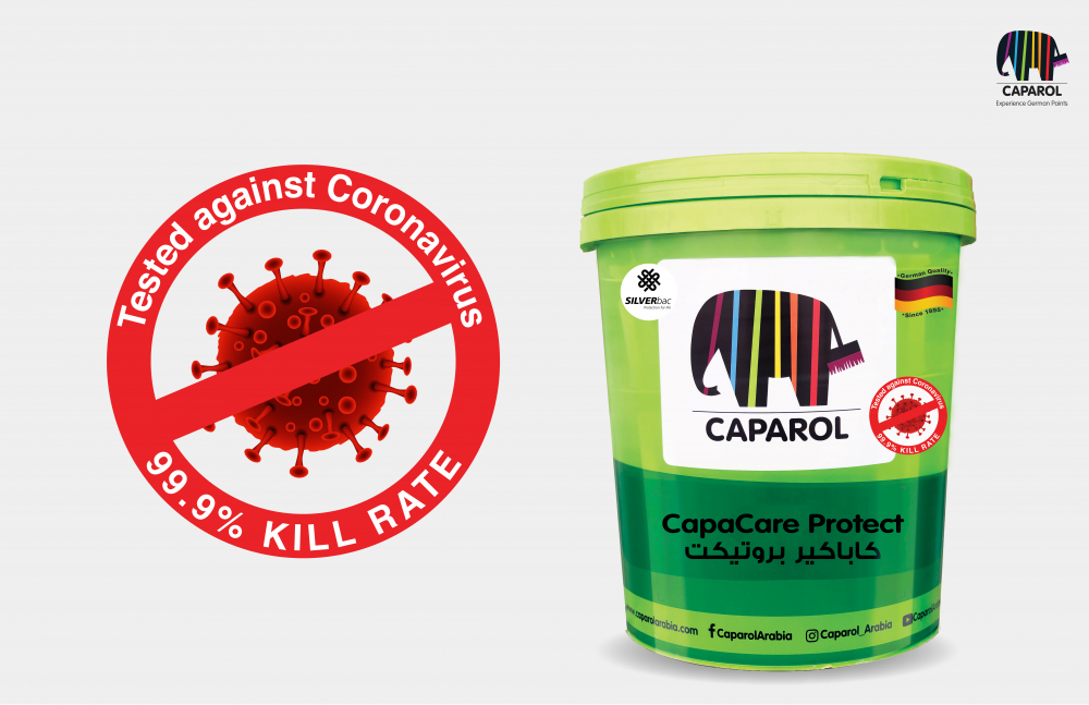 Caparol Arabia's anti-microbial paint tested and proven to help the fight against coronavirus particles on walls