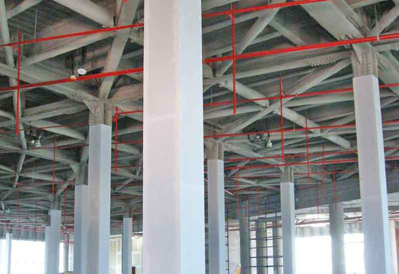 A spray-applied wet mix product will provide fire protection for structural steel at The Gate.