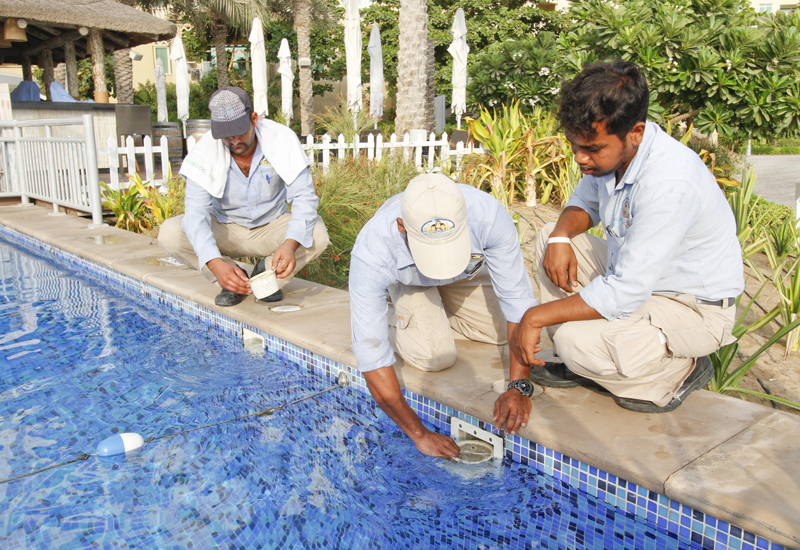 Those Pool Guys staff carrying out pool maintenance.
