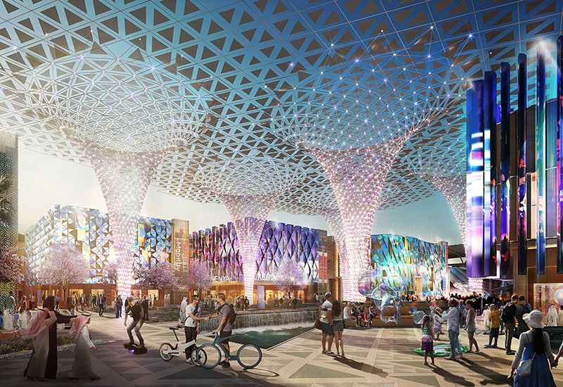 To date, more than 16 million work hours have been completed on the Expo 2020 Dubai site. [Render of the Expo site]
