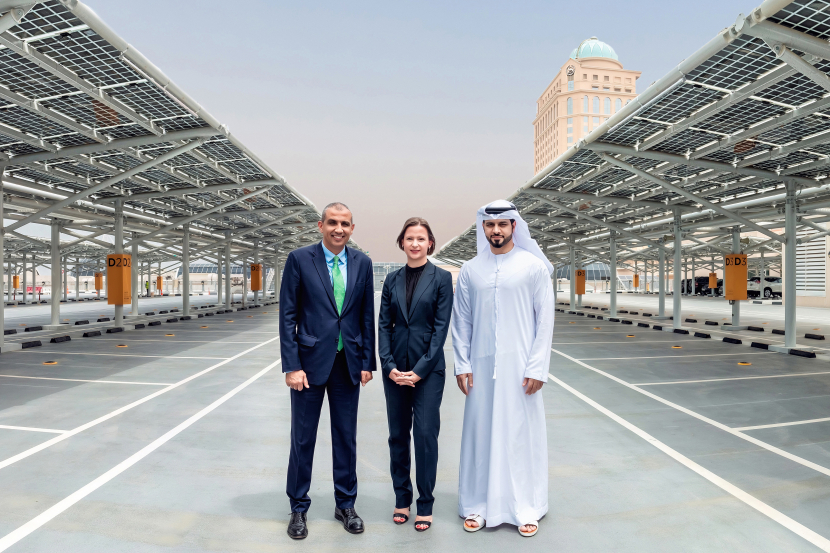 (From L to R): Ibrahim Al'Zubi, chief sustainability officer at Majid Al Futtaim-Holding, Anne Le Guennec, chief executive officer of Enova), and Hussain Moosa, director for Mall of the Emirates at Majid Al Futtaim - Properties.