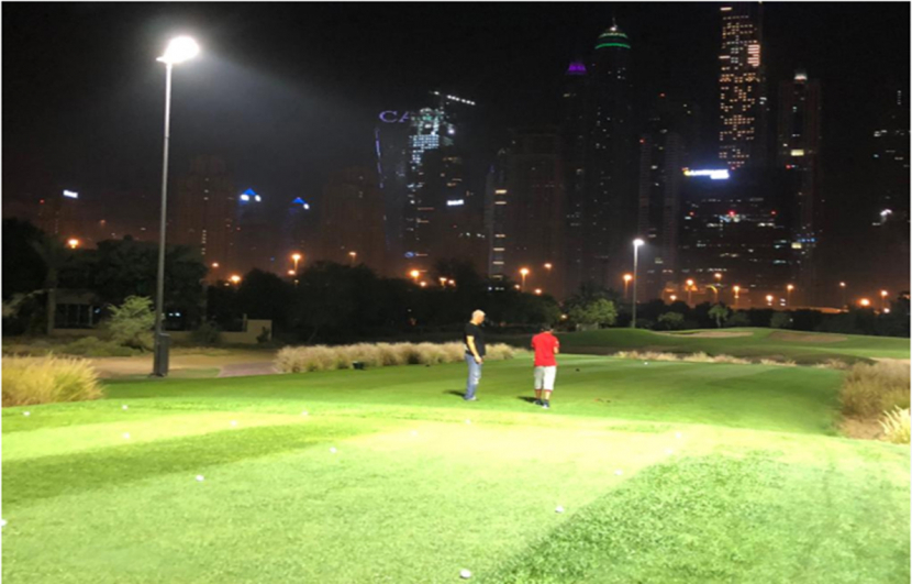 A mock-up of the lighting arrangements at Dubai Golf's golf course.