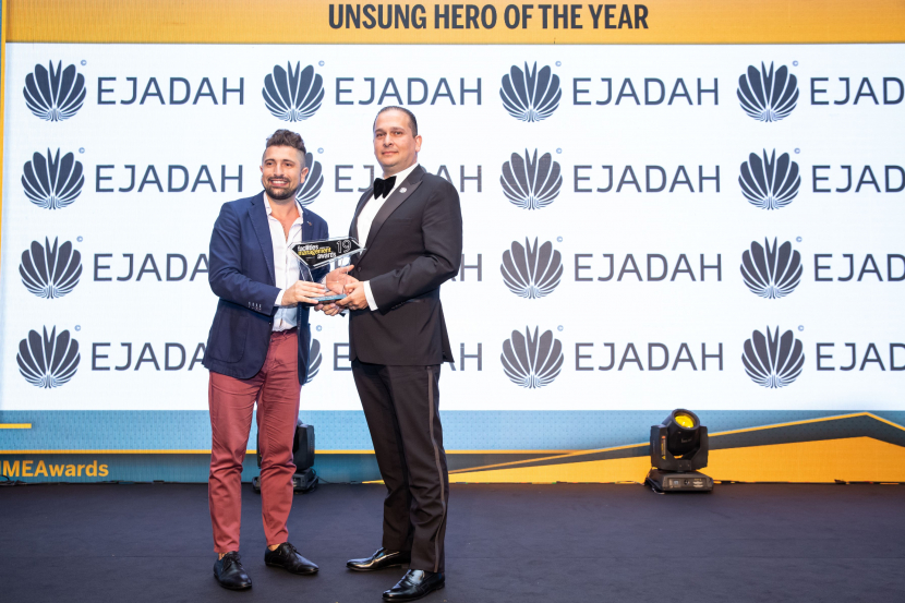 Mary Bautista, an office administrator at CoreServ, won the award in the Unsung Hero of the Year category of the FM Awards 2019.  Ibrahim Mougharbel accepted the trophy on Bautista's behalf on the night.