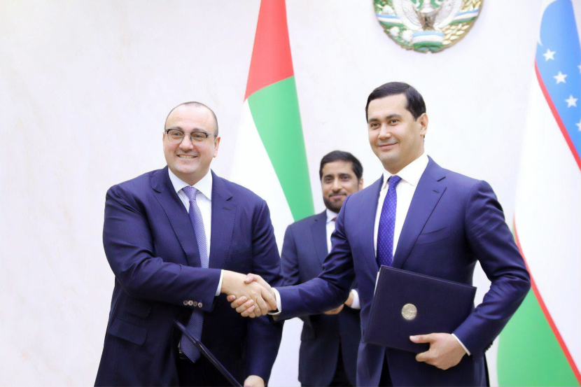 Mohamed Jameel Al Ramahi, Chief Executive Officer of Masdar, and Sardor Umurzakov, Minister of Investments and Foreign Trade of the Republic of Uzbekistan.